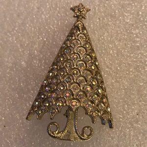 Vintage Mylu rhinestone tree brooch